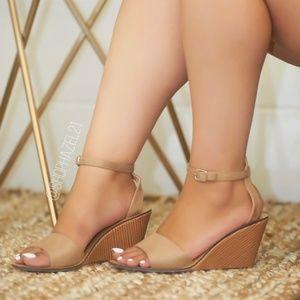 Ankle Strap Wooden Heel Wedge Sandal